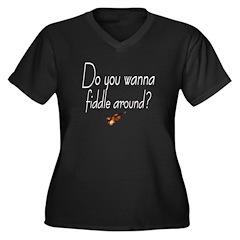 Wanna Fiddle Around? Women's Plus Size V-Neck Dark