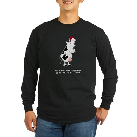 Two Front Teats Long Sleeve Dark T-Shirt
