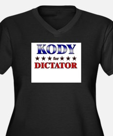 KODY for dictator Women's Plus Size V-Neck Dark T-