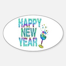 Happy New Year 1 & 2 - Oval Decal