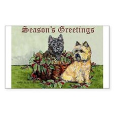 Christmas Cairn Terrier Rectangle Decal