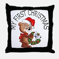 My 1st Christmas Bear Throw Pillow