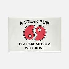 A Steak Pun Rectangle Magnet