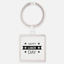 Happy Labor Day Square Keychain