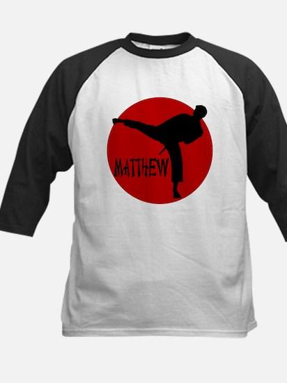 Matthew Martial Artist Kids Baseball Jersey