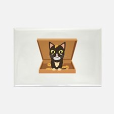 Cat in a pizza box Magnets