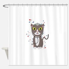 Cat with medical equipment Shower Curtain