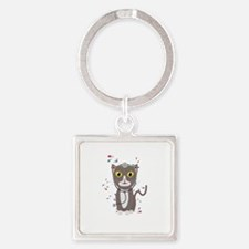Cat with medical equipment Keychains