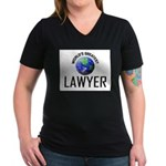 World's Greatest LAWYER Women's V-Neck Dark T-Shir
