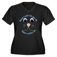 Bring a Smile Adopt Women's Plus Size V-Neck Dark