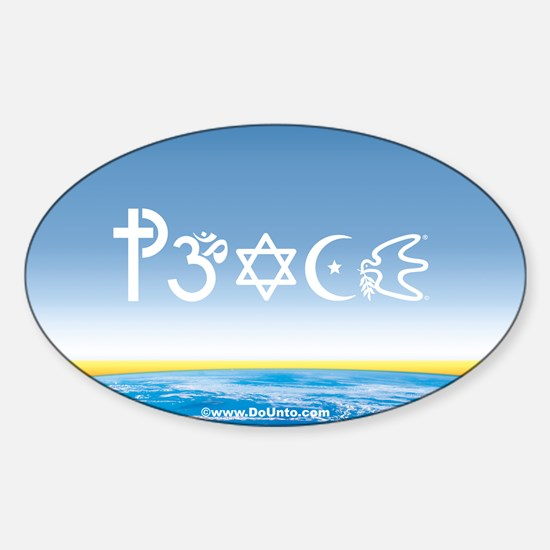 Peace-OM on earth Day Oval Decal