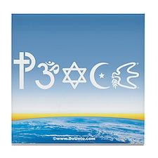 Peace-OM on earth Day Tile Coaster