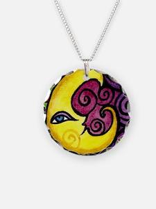 Swirly Blue Moon Necklace