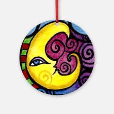 Swirly Blue Moon Round Ornament