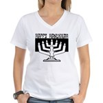 Happy Hanukkah Women's V-Neck T-Shirt