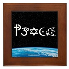 Peace-OM on earth at nite Framed Tile