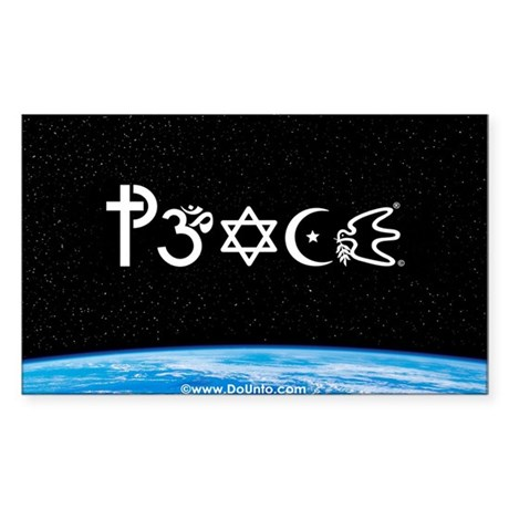 Peace-OM on earth at nite Rectangle Sticker