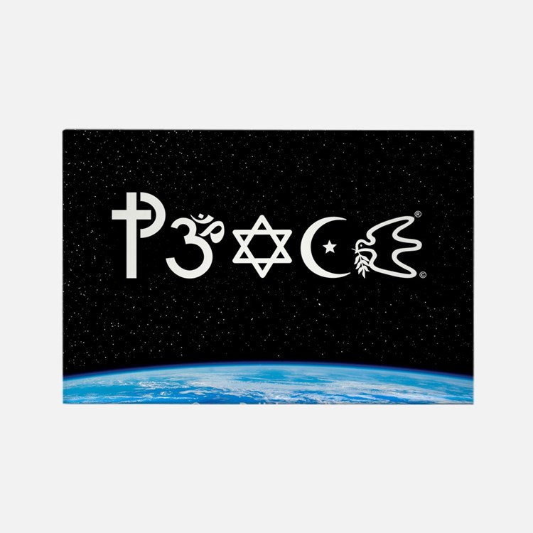 Peace-OM on earth at nite Rectangle Magnet (10 pac
