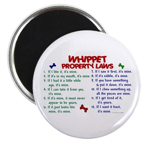 """Whippet Property Laws 2 2.25"""" Magnet (10 pack)"""