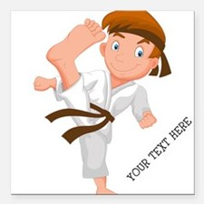 """PERSONALIZED KARATE BOY Square Car Magnet 3"""" x 3"""""""