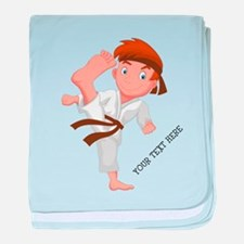 PERSONALIZED KARATE BOY baby blanket
