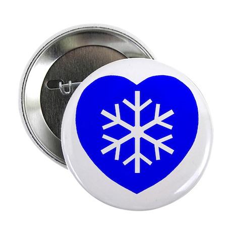 "Love Blue Snowflake Heart 2.25"" Button (10 pack)"