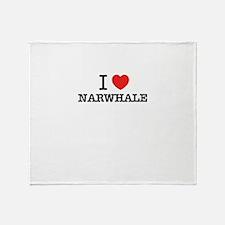 I Love NARWHALE Throw Blanket
