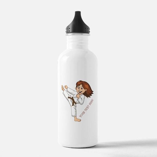 PERSONALIZED KARATE GIRL Water Bottle