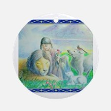 Funny Wolf girl Round Ornament