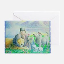 Funny Lion and lamb Greeting Card