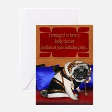 Belly dancing pug birthday card