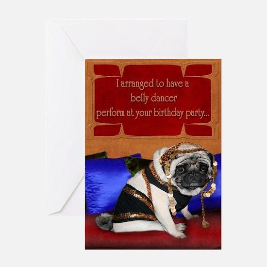 Belly dancing pug birthday card