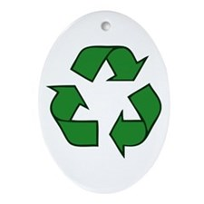 Recycle Symbol Oval Ornament