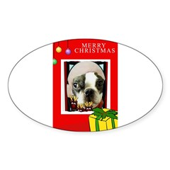 MERRY CHRISTMAS BOSTON TERRIER LOOK Oval Decal