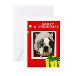 MERRY CHRISTMAS BOSTON TERRIER LOOK Greeting Card