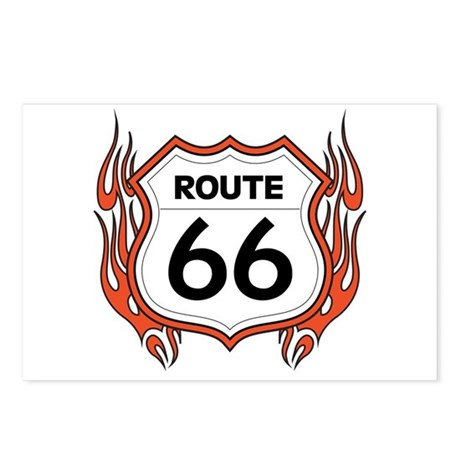 Route 66 - Flames Postcards (Package of 8)