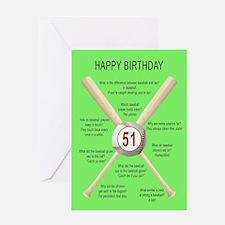 51st birthday, awful baseball jokes Greeting Cards