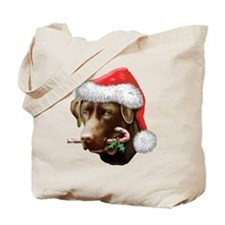 Chocolate Lab Christmas Tote Bag