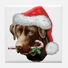Chocolate Lab Christmas Tile Coaster
