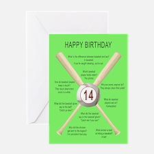 14th birthday, awful baseball jokes Greeting Cards