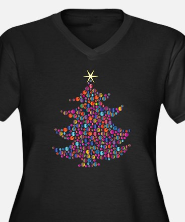 COLORFUL CHRISTMAS TREE Women's Plus Size V-Neck D