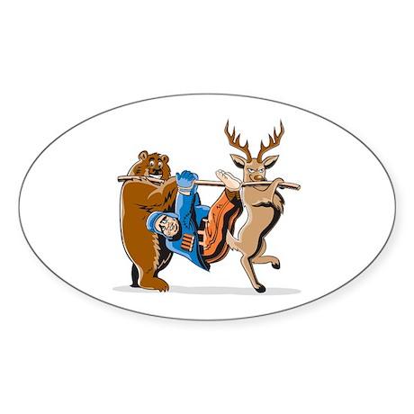Anti-Hunting Wild Animal Revenge Oval Sticker