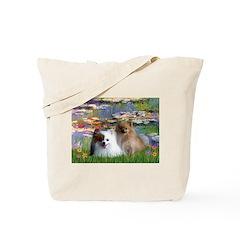 Lilies / 2 Pomeranians Tote Bag