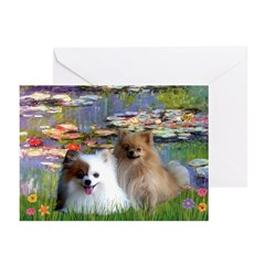Lilies / 2 Pomeranians Greeting Cards (Pk of 10)