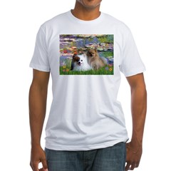 Lilies / 2 Pomeranians Fitted T-Shirt