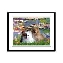 Lilies / 2 Pomeranians Framed Panel Print