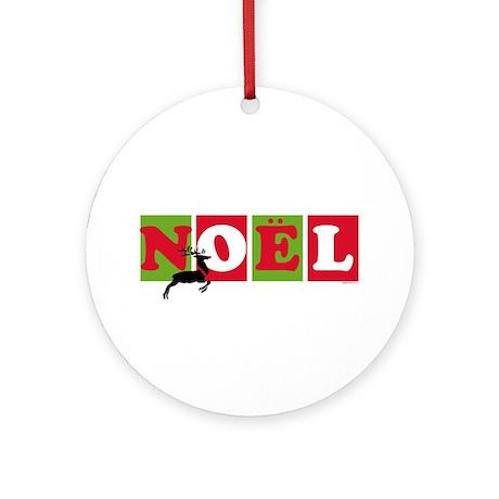 Noel Reindeer Christmas Ornament (Round)