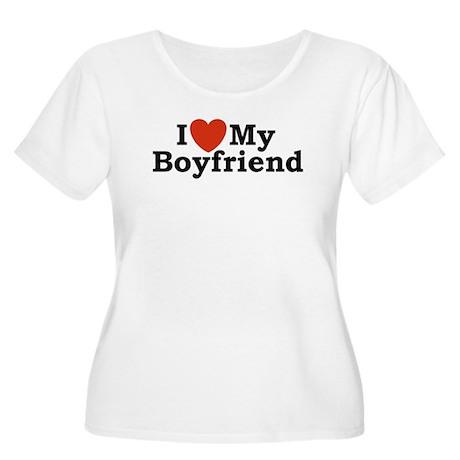 I Love My Boyfriend Women's Plus Size Scoop Neck T