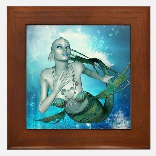 Underwater, wonderful mermaid Framed Tile