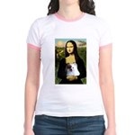 Mona / Pomeranian(r&w) Jr. Ringer T-Shirt